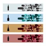 Εμβλήματα με τα μπουκάλια κρασιού και τα γυαλιά κρασιού διανυσματική απεικόνιση