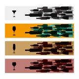 Εμβλήματα με τα μπουκάλια κρασιού και τα γυαλιά κρασιού. Στοκ φωτογραφίες με δικαίωμα ελεύθερης χρήσης