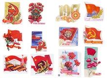 Εμβλήματα της Σοβιετικής Ένωσης που τίθενται Στοκ Εικόνες