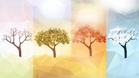 Εμβλήματα του Four Seasons με τα αφηρημένα δέντρα - διανυσματική απεικόνιση απεικόνιση αποθεμάτων