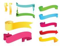 Εμβλήματα χρωμάτων και κορδέλλες, διανυσματικό σύνολο Στοκ Εικόνα