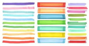 Εμβλήματα χρώματος που σύρονται με τους δείκτες της Ιαπωνίας Μοντέρνα στοιχεία για το σχέδιο Διανυσματικό κτύπημα δεικτών Στοκ Φωτογραφίες
