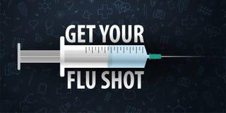 εμβολιασμός Πάρτε το εμβόλιο γρίπης σας Ιατρική αφίσα η υγεία προσοχής όπλων απομόνωσε τις καθυστερήσεις Διανυσματική απεικόνιση  απεικόνιση αποθεμάτων