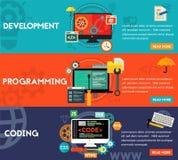 Εμβλήματα έννοιας προγραμματισμού, ανάπτυξης και κωδικοποίησης στοκ εικόνα με δικαίωμα ελεύθερης χρήσης