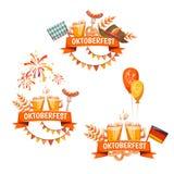 Εμβλήματα για τον εορτασμό Oktoberfest Μπύρα και Στοκ Εικόνες