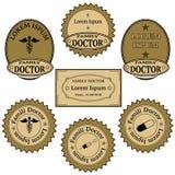 Εμβλήματα, ετικέτες, εικονίδια, σημάδια για τις υπηρεσίες οικογενειακών γιατρών Στοκ Φωτογραφίες