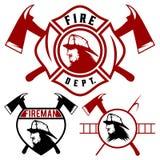 εμβλήματα και διακριτικά πυροσβεστικών υπηρεσιών διανυσματική απεικόνιση