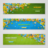 Εμβλήματα με τα εικονίδια της οικολογίας, περιβάλλον, πράσινο Στοκ Φωτογραφία