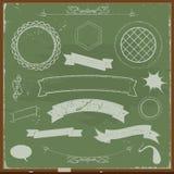 Εμβλήματα πινάκων κιμωλίας και στοιχεία σχεδίου Στοκ Εικόνες