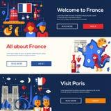 Εμβλήματα ταξιδιού της Γαλλίας που τίθενται με τα διάσημα γαλλικά σύμβολα διανυσματική απεικόνιση