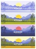 Εμβλήματα του Four Seasons με τα αφηρημένα δέντρα - διανυσματική απεικόνιση Στοκ Εικόνες