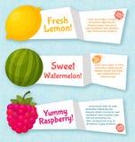 Εμβλήματα φρούτων καθορισμένα Ζωηρόχρωμο πρότυπο για το μαγείρεμα Στοκ εικόνα με δικαίωμα ελεύθερης χρήσης