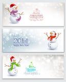 Εμβλήματα Χριστουγέννων με τους χιονανθρώπους Στοκ Φωτογραφίες