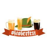 Εμβλήματα Oktoberfest στο βαυαρικό χρώμα Στοκ Εικόνες