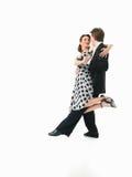 Εμπαθές χορεύοντας ζεύγος στην άσπρη ανασκόπηση Στοκ φωτογραφίες με δικαίωμα ελεύθερης χρήσης