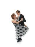 Εμπαθές χορεύοντας ζεύγος στην άσπρη ανασκόπηση Στοκ Εικόνες