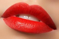 Εμπαθή κόκκινα χείλια, μακρο φωτογραφία Στοκ Εικόνες
