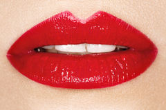 Εμπαθή κόκκινα χείλια, μακρο φωτογραφία Στοκ Φωτογραφίες