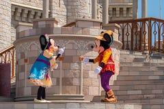 Εμπαιγμός και Minnie που χορεύουν με την πριγκήπισσα και τους χαρακτήρες βατράχων στο μαγικό βασίλειο 5 στοκ φωτογραφίες
