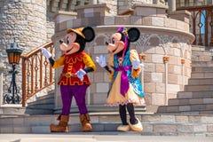 Εμπαιγμός και Minnie στη βασιλική φιλία Faire του εμπαιγμού σε Cinderella Castle στο μαγικό βασίλειο 6 στοκ φωτογραφία