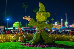 Εμπαιγμός μαθητευόμενων μάγου topiarie στα στούντιο Hollywood στον κόσμο Walt Disney στοκ φωτογραφία με δικαίωμα ελεύθερης χρήσης
