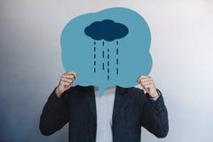 Εμπειρία πελατών ή ανθρώπινη συναισθηματική έννοια Άτομο που παρουσιάζει το δυστυχισμένο συναίσθημά του από το συρμένο πρόσωπο κι στοκ εικόνες με δικαίωμα ελεύθερης χρήσης