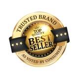 Εμπιστευμένο εμπορικό σήμα Καλύτερος πωλητής - λαμπρά εικονίδιο/ετικέτα/διακριτικό Στοκ φωτογραφία με δικαίωμα ελεύθερης χρήσης