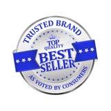 Εμπιστευμένο εμπορικό σήμα Καλύτερος πωλητής - λαμπρά εικονίδιο/ετικέτα/διακριτικό Στοκ Φωτογραφία