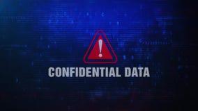 Εμπιστευτικό μήνυμα λάθους προειδοποίησης στοιχείων άγρυπνο που αναβοσβήνει στην οθόνη ελεύθερη απεικόνιση δικαιώματος