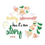 Εμπνευσμένο απόσπασμα για τη ζωή και διακοσμημένα τα καλοκαίρι συρμένα χέρι λουλούδια λιβαδιών ελεύθερη απεικόνιση δικαιώματος