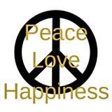 Εμπνευσμένο και προσεκτικό απόσπασμα: Ειρήνη, αγάπη και ευτυχία διανυσματική απεικόνιση