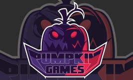 Εμπνεύσεις παιχνιδιών λογότυπων, φρίκη λογότυπων κολοκύθας με το Μαύρο υποβάθρου, διανυσματική απεικόνιση