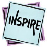 Εμπνεύστε - σημείωση συμβουλών ή υπενθυμίσεων στοκ εικόνες
