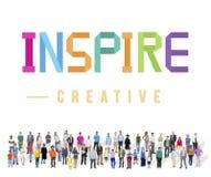 Εμπνεύστε το αισιόδοξο θεωρεί το όραμα ότι φιλοδοξίας καινοτομεί έννοια στοκ φωτογραφία