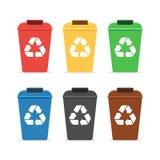 Εμπορευματοκιβώτια απορριμμάτων για την ανακύκλωση ελεύθερη απεικόνιση δικαιώματος