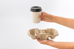 Εμπορευματοκιβώτια για το γρήγορο φαγητό και τα ποτά υλικά ανακυκλώσιμα Στοκ Εικόνες