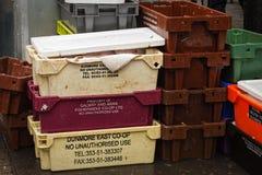 Εμπορευματοκιβώτια με την παράδοση ψαριών στην αγορά οδών Moore στον πωλητή, που θα ανοίξει τα και τη θέση στους στάβλους για του Στοκ εικόνα με δικαίωμα ελεύθερης χρήσης