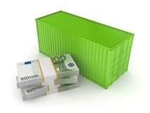 Εμπορευματοκιβώτιο και σωρός του ευρώ. Στοκ Εικόνες