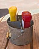 Εμπορευματοκιβώτιο καρυκευμάτων με τα μπουκάλια της μουστάρδας και του κέτσαπ Στοκ Εικόνες