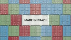 Εμπορευματοκιβώτιο με ΚΑΜΕΝΟΣ στο κείμενο της ΒΡΑΖΙΛΙΑΣ Η βραζιλιάνα εισαγωγή ή η εξαγωγή αφορούσε την τρισδιάστατη απόδοση ελεύθερη απεικόνιση δικαιώματος