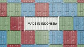 Εμπορευματοκιβώτιο με ΚΑΜΕΝΟΣ στο κείμενο της ΙΝΔΟΝΗΣΙΑΣ Η ινδονησιακή εισαγωγή ή η εξαγωγή αφορούσε την τρισδιάστατη απόδοση διανυσματική απεικόνιση
