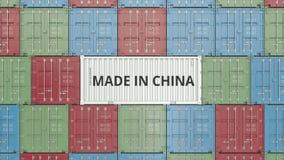 Εμπορευματοκιβώτιο με ΚΑΜΕΝΟΣ στο κείμενο της ΚΙΝΑΣ Η κινεζική εισαγωγή ή η εξαγωγή αφορούσε την τρισδιάστατη απόδοση διανυσματική απεικόνιση