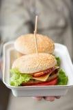 Εμπορευματοκιβώτιο με τα burgers στο αρσενικό χέρι Στοκ φωτογραφία με δικαίωμα ελεύθερης χρήσης