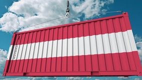 Εμπορευματοκιβώτιο με τη σημαία της Αυστρίας Η αυστριακή εισαγωγή ή η εξαγωγή αφορούσε την εννοιολογική τρισδιάστατη απόδοση απεικόνιση αποθεμάτων