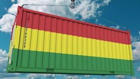 Εμπορευματοκιβώτιο με τη σημαία της Βολιβίας Η βολιβιανή εισαγωγή ή η εξαγωγή αφορούσε την εννοιολογική τρισδιάστατη απόδοση διανυσματική απεικόνιση