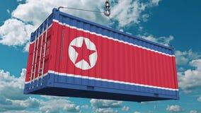 Εμπορευματοκιβώτιο με τη σημαία της Βόρεια Κορέας Η κορεατική εισαγωγή ή η εξαγωγή αφορούσε την εννοιολογική τρισδιάστατη απόδοση απεικόνιση αποθεμάτων