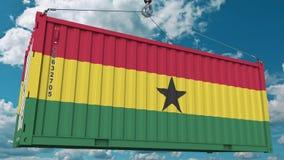 Εμπορευματοκιβώτιο με τη σημαία της Γκάνας Η από τη Γκάνα εισαγωγή ή η εξαγωγή αφορούσε την εννοιολογική τρισδιάστατη απόδοση στοκ εικόνες
