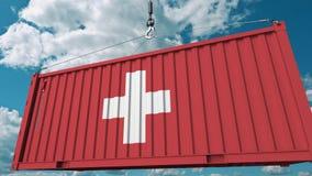 Εμπορευματοκιβώτιο με τη σημαία της Ελβετίας Η ελβετική εισαγωγή ή η εξαγωγή αφορούσε την εννοιολογική τρισδιάστατη ζωτικότητα απόθεμα βίντεο