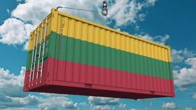 Εμπορευματοκιβώτιο με τη σημαία της Λιθουανίας Η λιθουανική εισαγωγή ή η εξαγωγή αφορούσε την εννοιολογική τρισδιάστατη απόδοση στοκ εικόνα με δικαίωμα ελεύθερης χρήσης