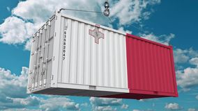 Εμπορευματοκιβώτιο με τη σημαία της Μάλτας Η της Μάλτα εισαγωγή ή η εξαγωγή αφορούσε την εννοιολογική τρισδιάστατη απόδοση διανυσματική απεικόνιση